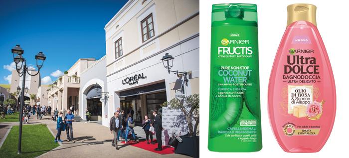Da sinistra, il negozio L'Oréal Paris all'interno del Sicilia Outlet Village; accanto, il riposizionamento di Fructis e, nuove categorie di Garnier Ultra Dolce
